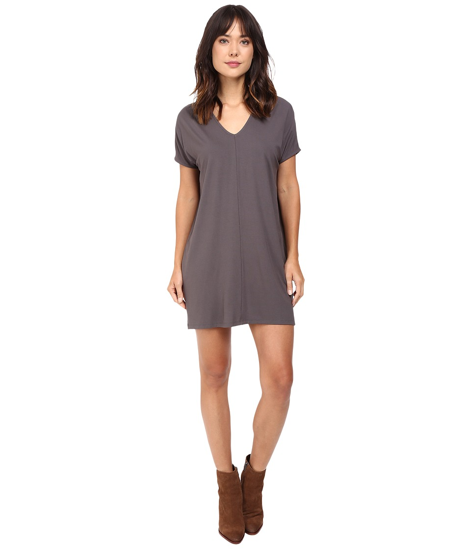 Lilla P - Stretch Jersey Short Sleeve V-Neck Dress (Pewter) Women's Dress