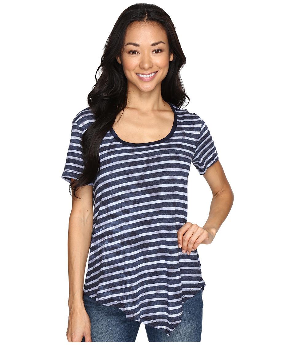 Allen Allen - Short Sleeve Angled Hem Tee (Navy) Women's T Shirt