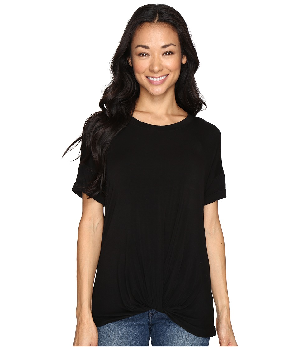 Allen Allen - Twist Front Crew w/ Roll Hem Sleeves (Black) Women's T Shirt
