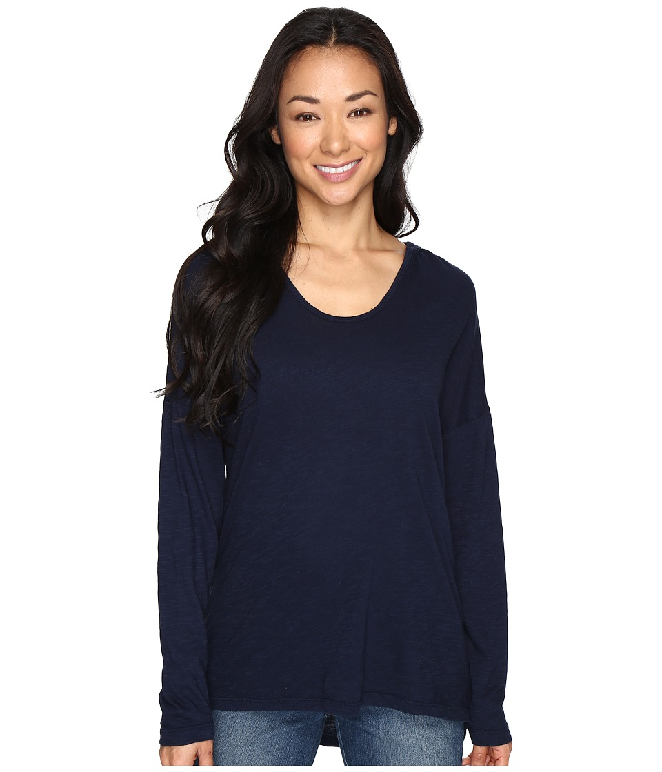 Allen Allen - Slub U-Neck Hoodie (Navy) Women's Long Sleeve Pullover
