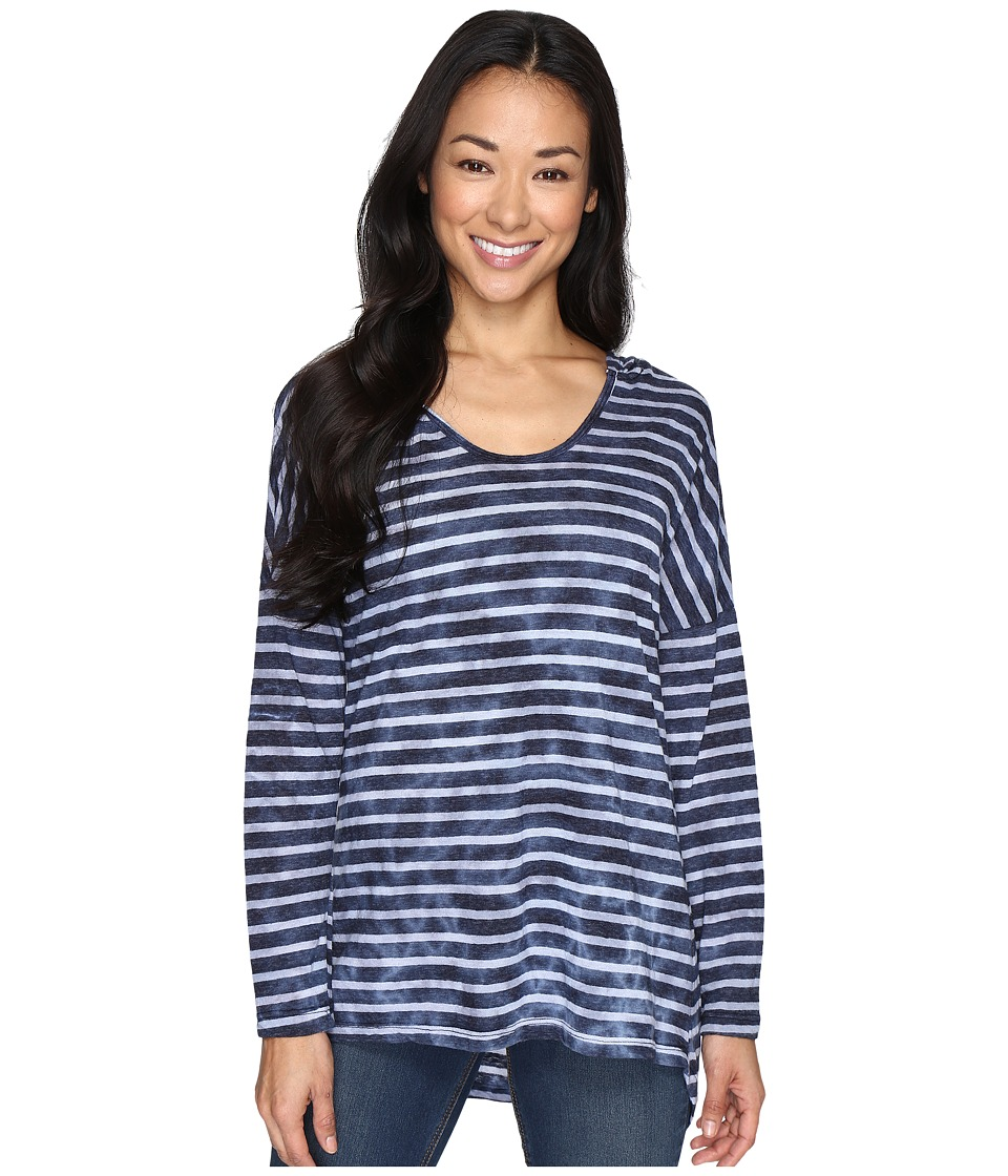 Allen Allen - Long Sleeve U-Neck High-Low Hoodie (Navy) Women's Sweatshirt