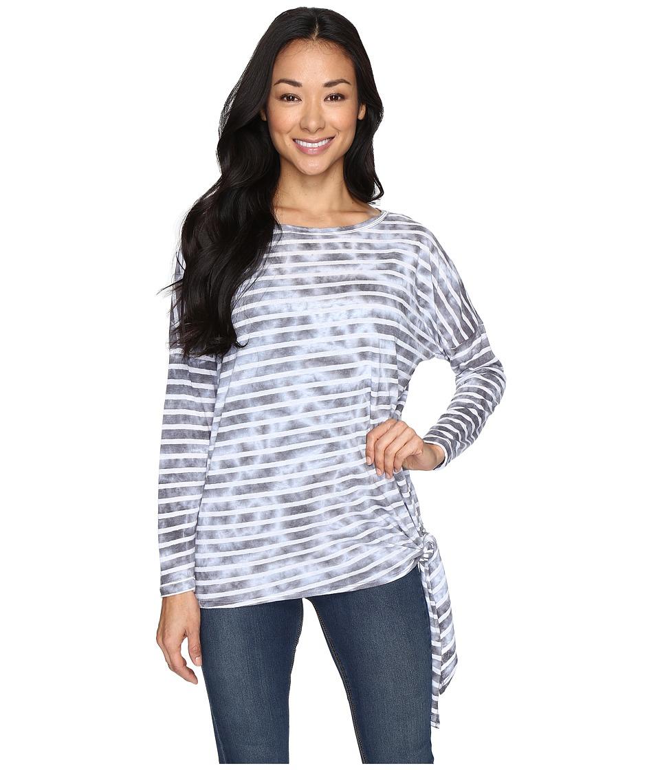 Allen Allen - Long Sleeve Side-Tie Top (Pale Grey) Women's Long Sleeve Pullover