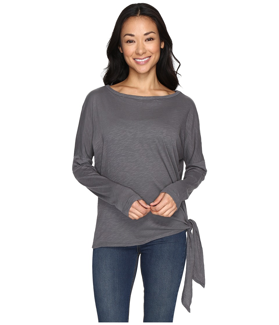 Allen Allen - Long Sleeve Drop Shoulder Side-Tie Top (Flint) Women's Long Sleeve Pullover