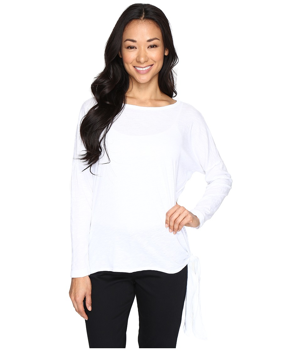 Allen Allen - Long Sleeve Drop Shoulder Side-Tie Top (White) Women's Long Sleeve Pullover