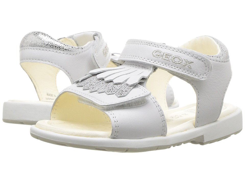 Geox Kids - Jr Verred Girl 14 (Toddler) (White/Silver) Girl's Shoes