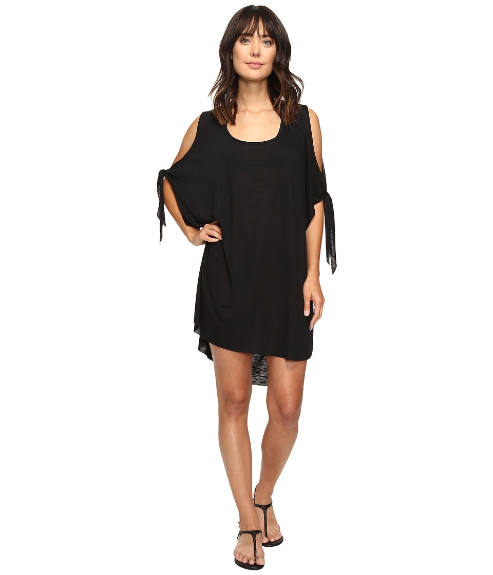 BECCA by Rebecca Virtue - Breezy Basics Cold Shoulder Poncho Cover-Up (Black) Women's Swimwear