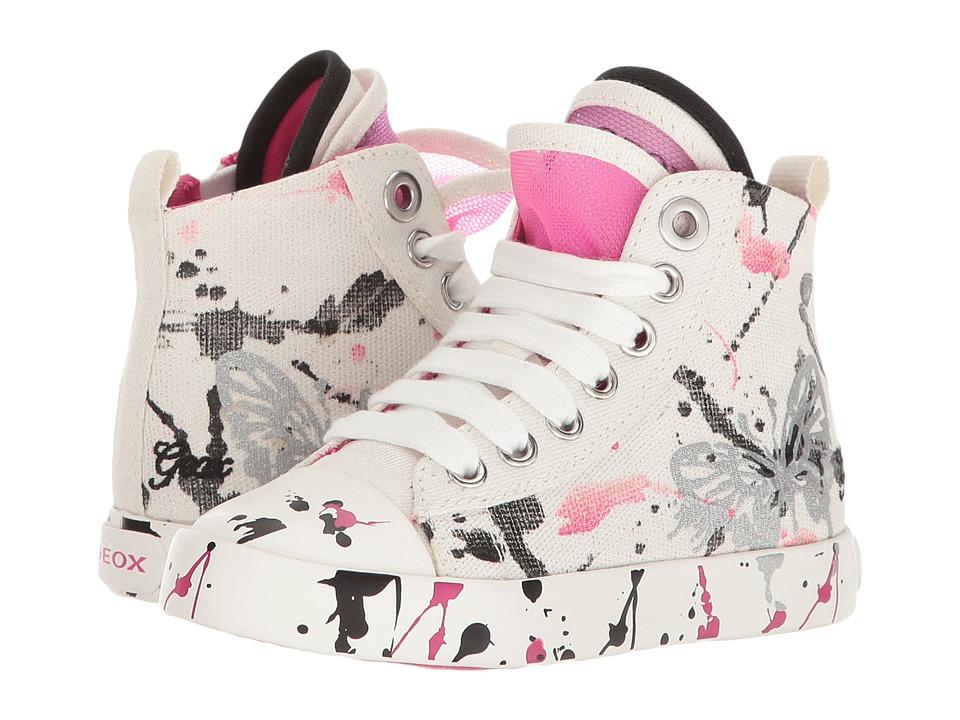 Geox Kids - Jr Ciak Girl 54 (Toddler/Little Kid) (White/Fuchsia) Girl's Shoes