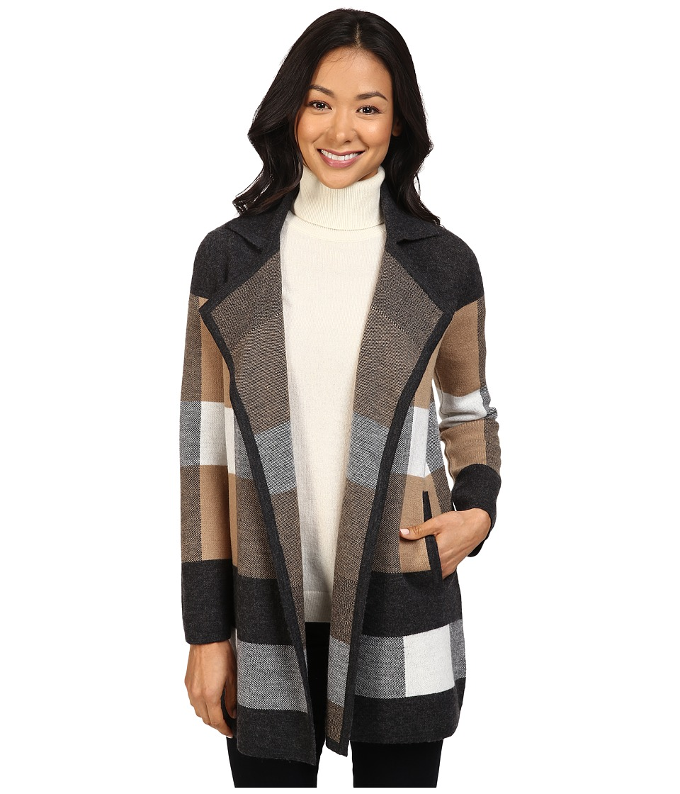 Pendleton - Petite Plaid Cardigan (Charcoal Heather/Camel/Ivory) Women's Sweater