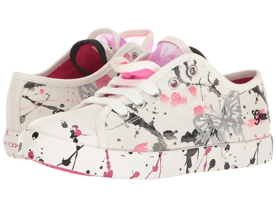 Geox Kids - Jr Ciak Girl 55 (Little Kid/Big Kid) (White/Fuchsia) Girl's Shoes