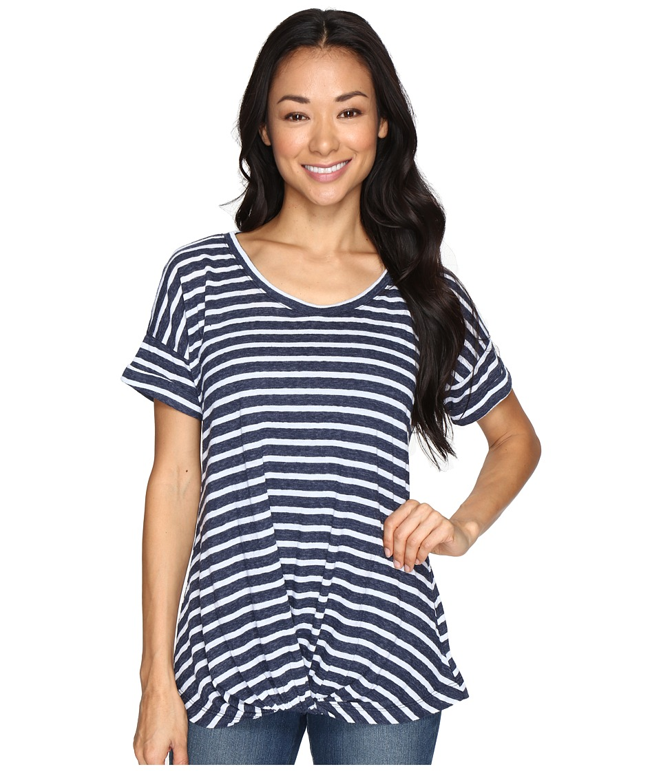 Allen Allen - Twist Front Crew w/ Roll Hem Sleeves Stripe (Navy) Women's T Shirt