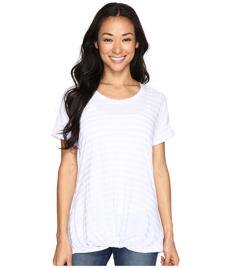 Allen Allen - Twist Front Crew w/ Roll Hem Sleeves Stripe (Garden Purple) Women's T Shirt