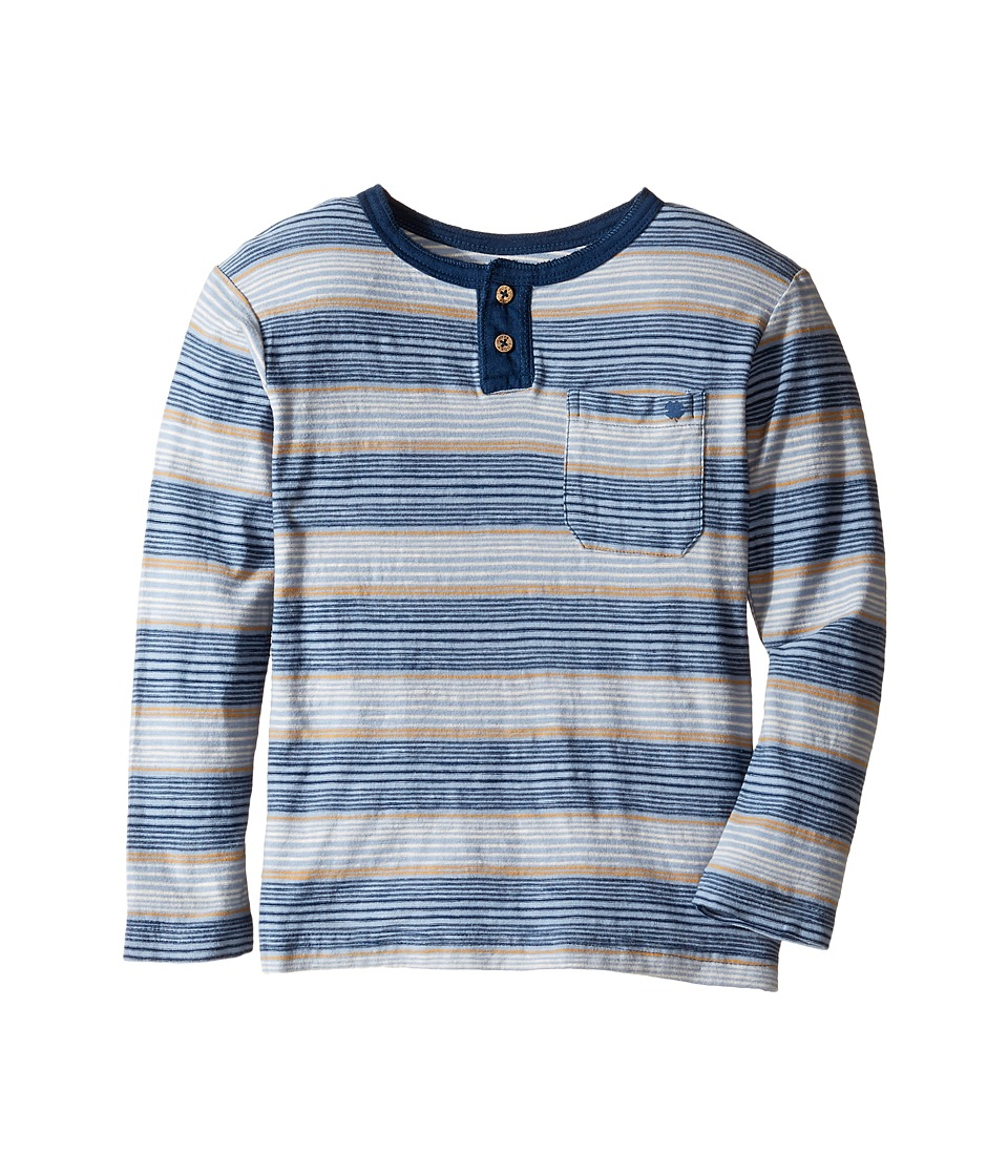 Lucky Brand Kids Long Sleeve Striped Henley Shirt (Toddler) (Indy Blue) Boy