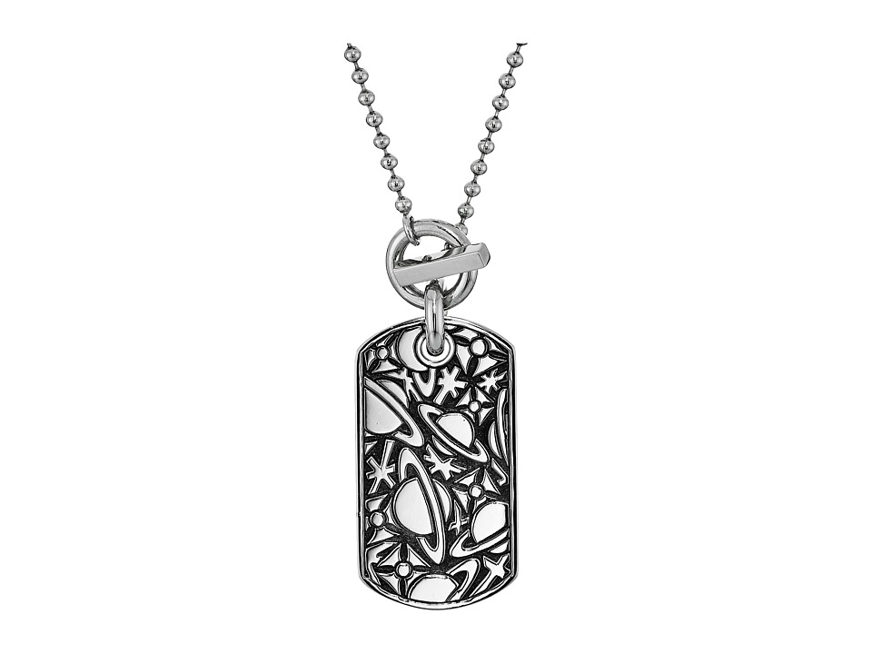 Vivienne Westwood - Angelo Long Tag Pendant Necklace (Oxidized Silver) Necklace
