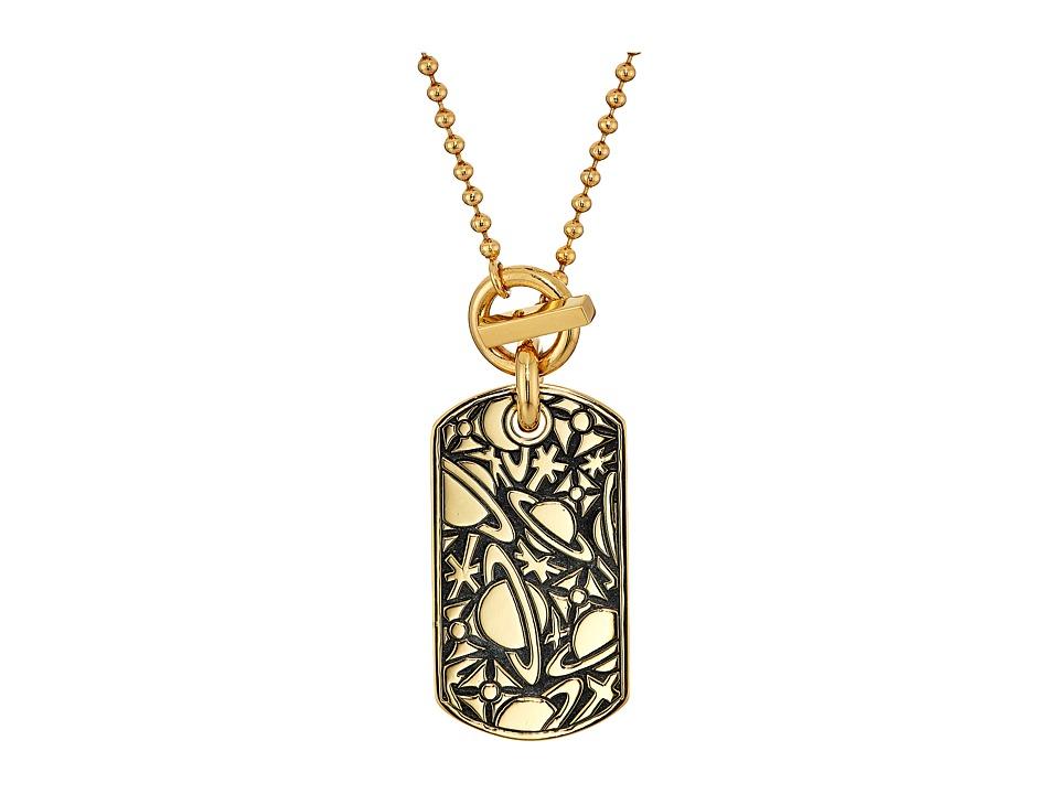 Vivienne Westwood - Angelo Long Tag Pendant Necklace (Oxidized Gold) Necklace