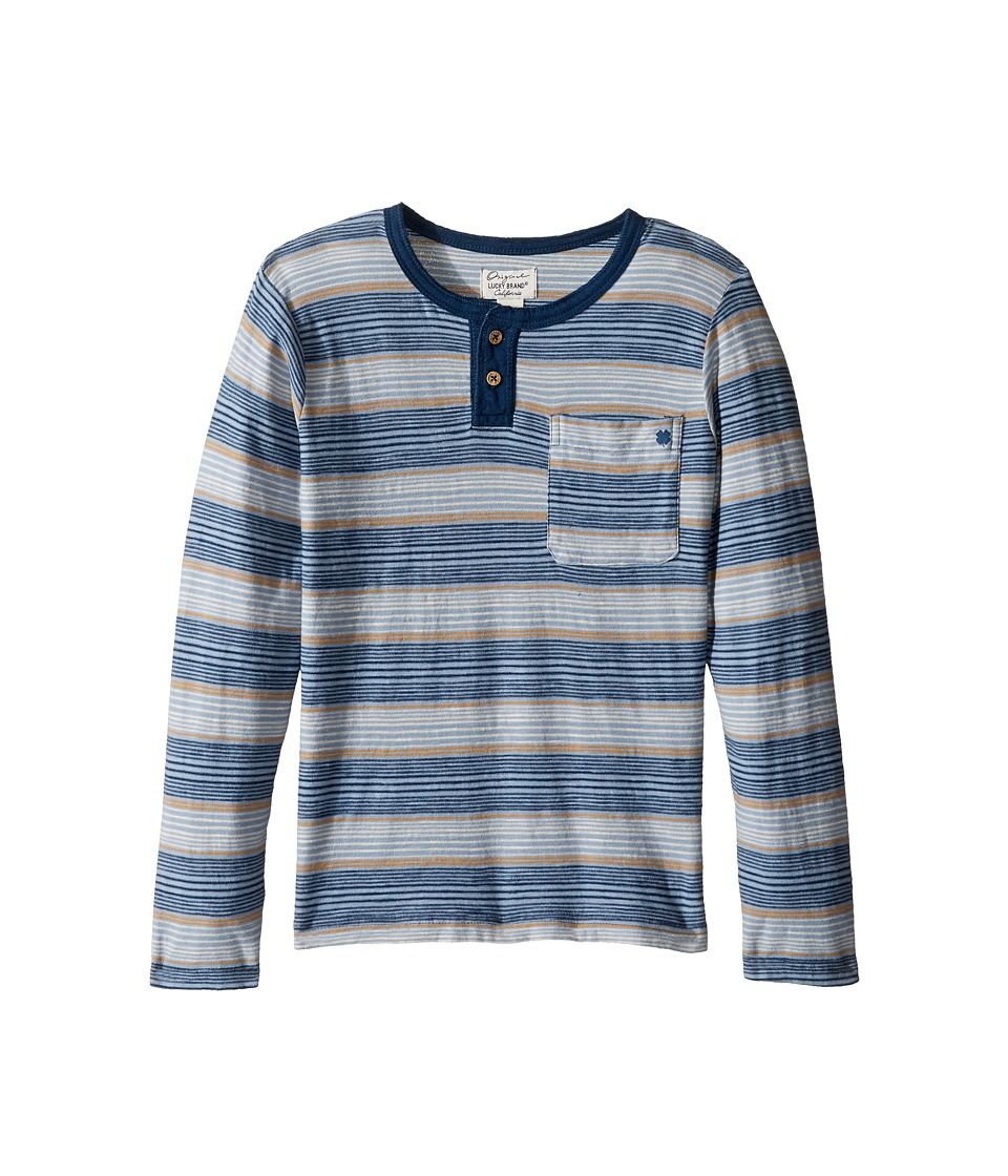 Lucky Brand Kids - Long Sleeve Striped Henley Shirt (Little Kids/Big Kids) (Indy Blue) Boy's Clothing