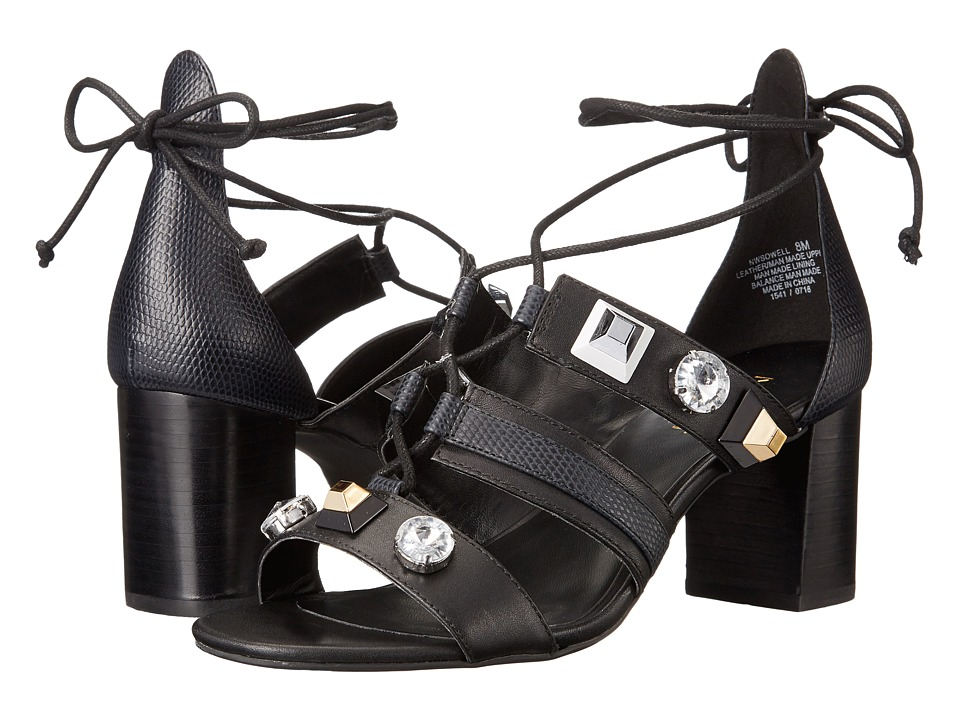 Nine West Sowell (Black/Black Smooth Leather/Grain Leather) Women
