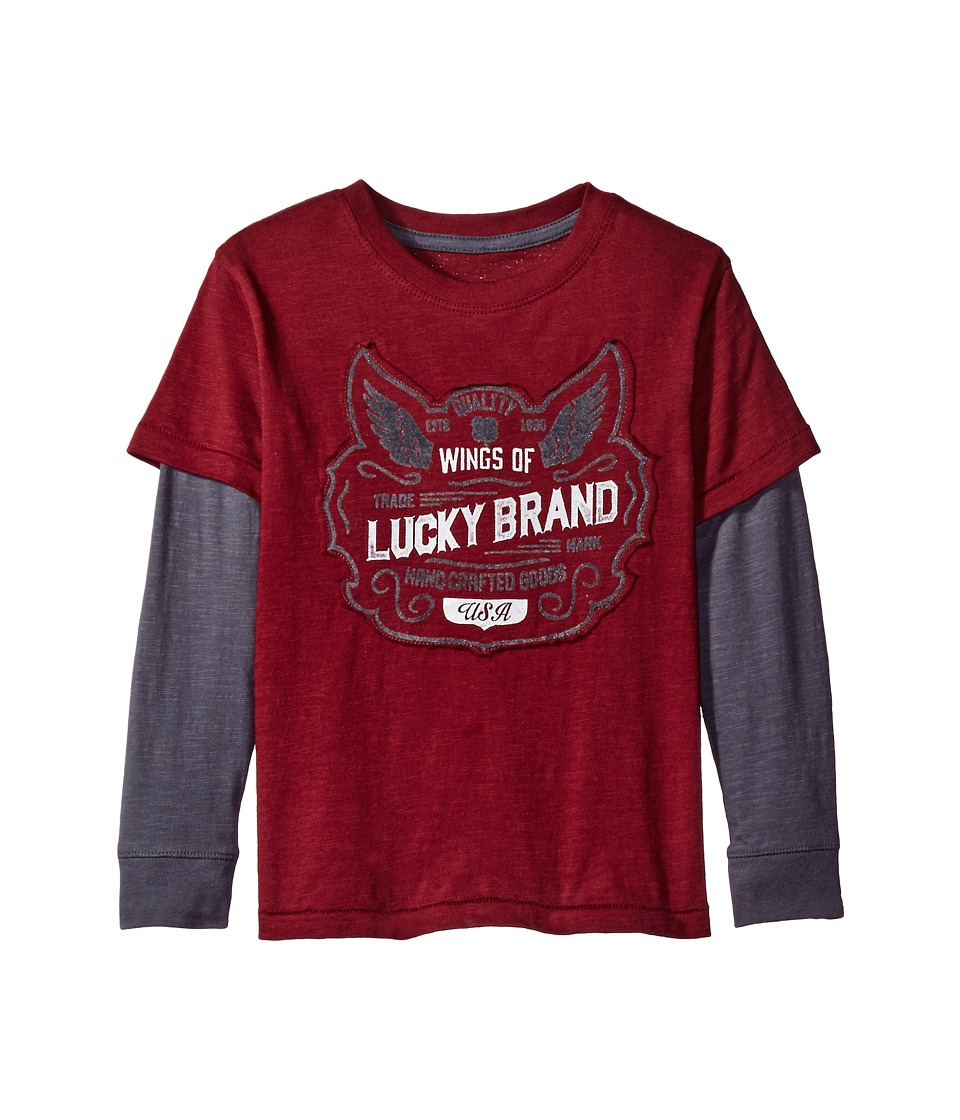 Lucky Brand Kids - Long Sleeve Slider Tee with Lucky Logo (Toddler) (Zinfandel) Boy's T Shirt