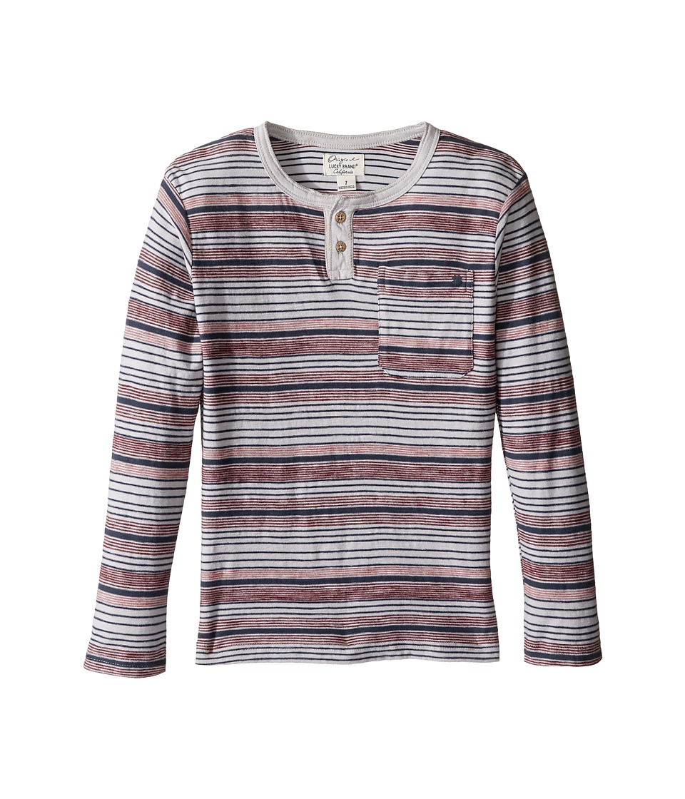 Lucky Brand Kids - Striped Henley Shirt with Chest Pocket (Little Kids/Big Kids) (Microchip) Boy's Clothing