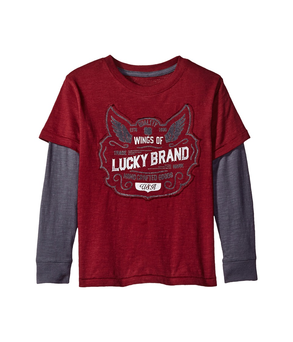 Lucky Brand Kids - Long Sleeve Slider Tee with Lucky Logo (Little Kids/Big Kids) (Zinfandel) Boy's T Shirt