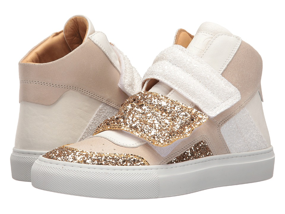 MM6 Maison Margiela - Mixed Glitter High Top (Gold/White/Beige Glitter) Women's Shoes