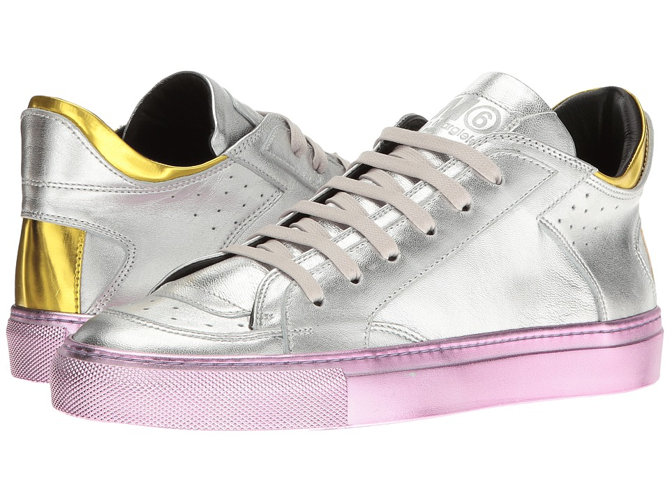 MM6 Maison Margiela - Laminated Low Sneaker (Silver/Yellow Laminated Leather) Women's Shoes