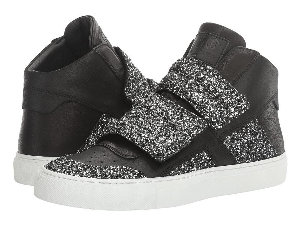 MM6 Maison Margiela - Mixed Glitter High Top (Black/Silver Glitter) Women's Shoes