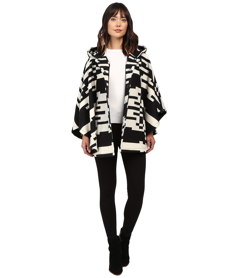 Pendleton - Bette Cape (Black/Ivory Jacquard) Women's Coat