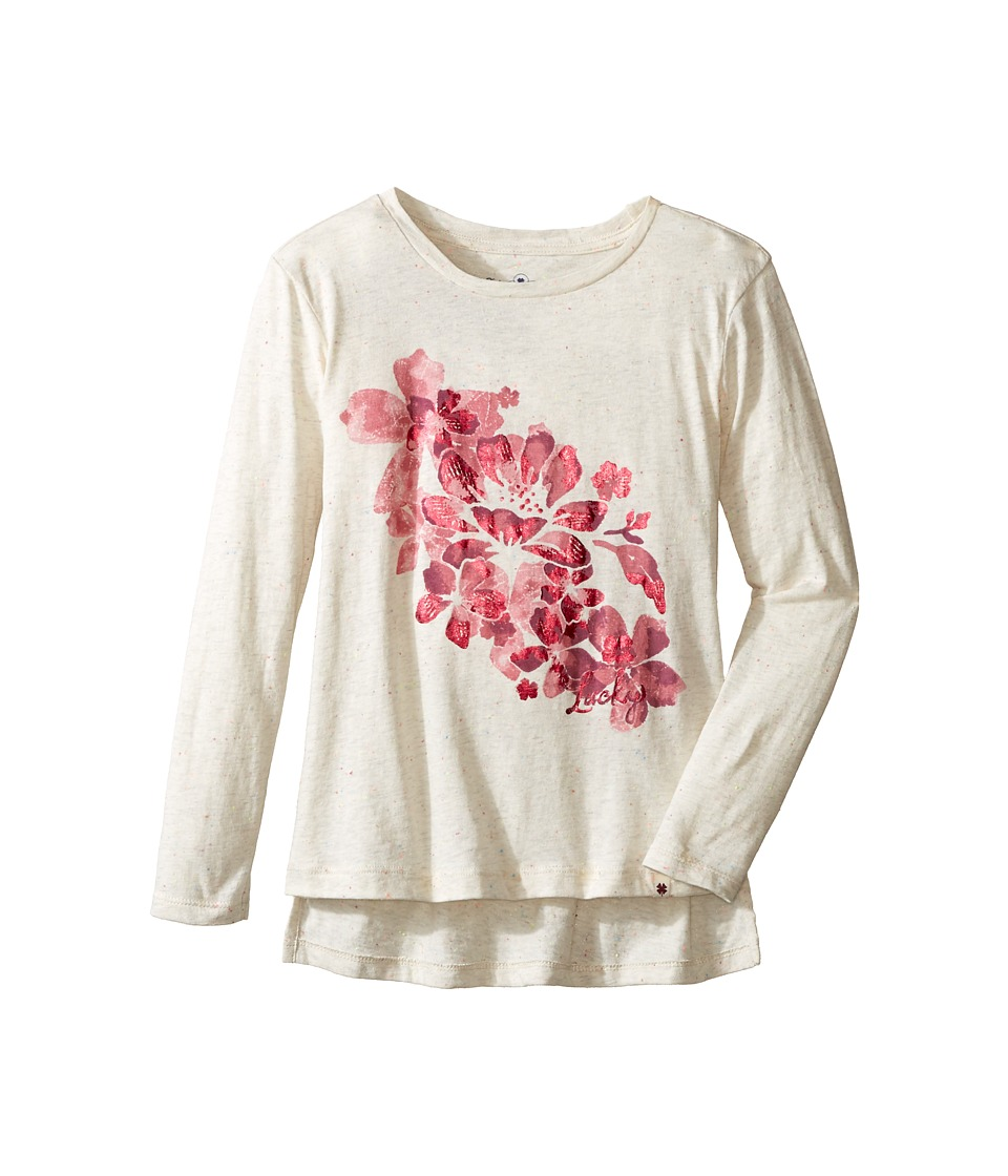 Lucky Brand Kids - Pullover Tee with Floral Screen Print (Little Kids) (Pristine) Girl's T Shirt