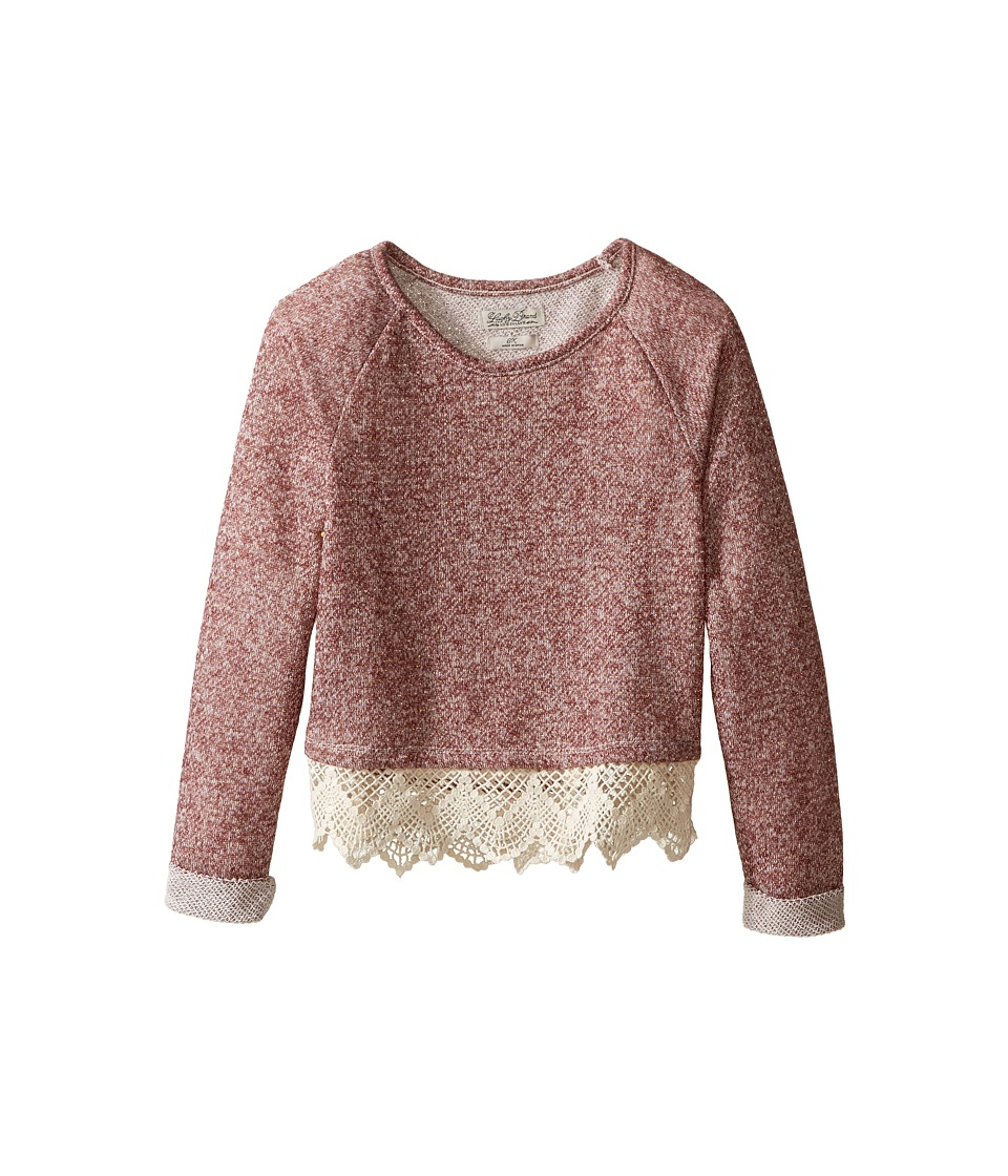 Lucky Brand Kids - Popover Top with Lace Trim and Lurex Detail (Little Kids) (Beaujolais) Girl's Clothing