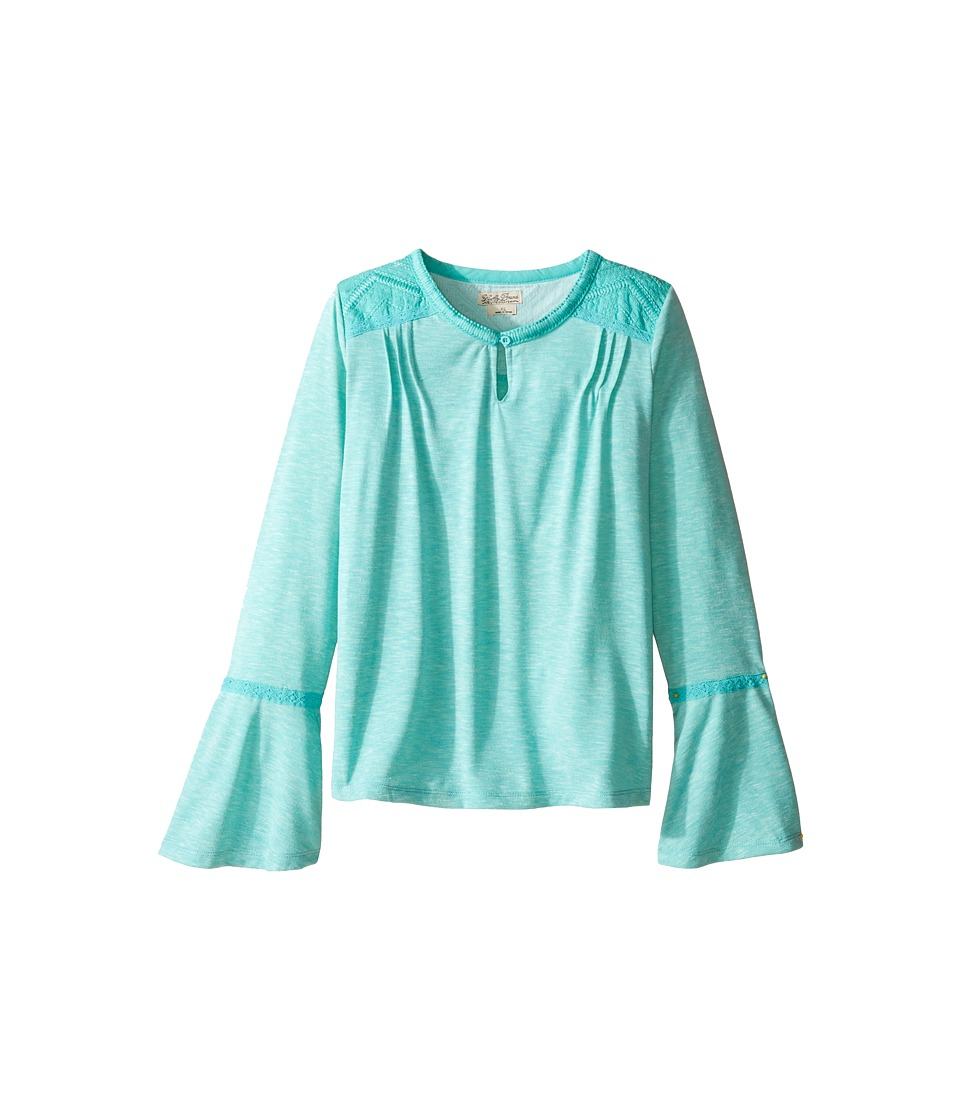 Lucky Brand Kids - Peasant Top with Embroidery and Bell Sleeve (Big Kids) (Turquoise) Girl's Clothing