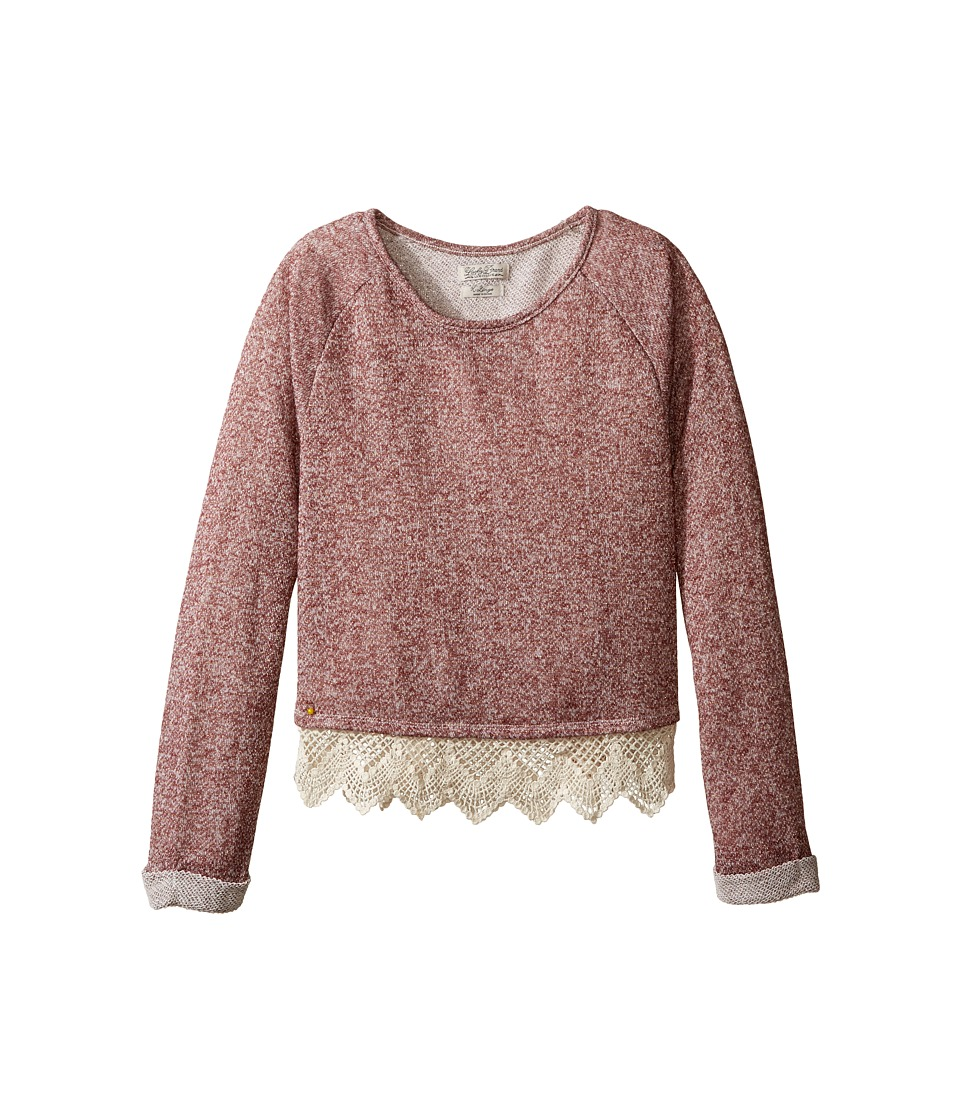 Lucky Brand Kids - Popover Top with Lace Trim and Lurex Detail (Big Kids) (Beaujolais) Girl's Clothing