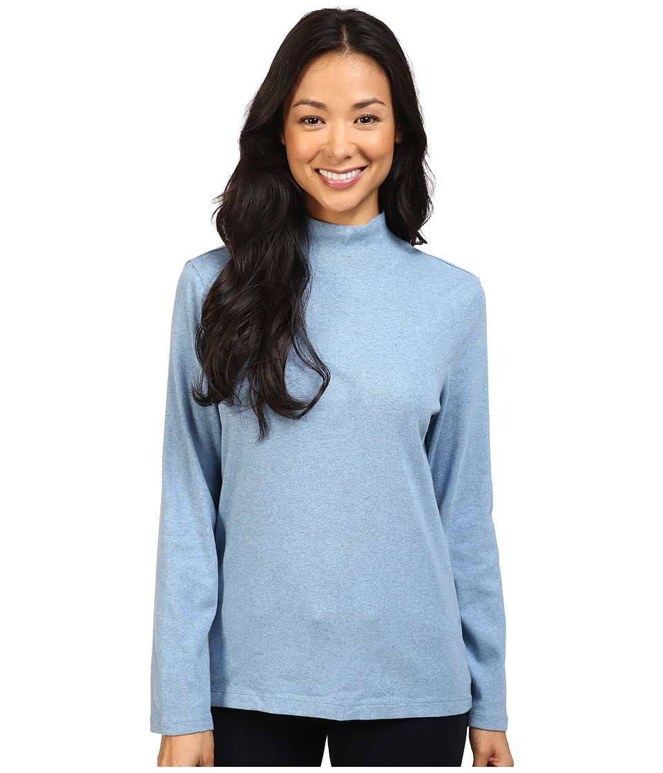 Pendleton - L/S Mock Neck Cotton Rib Tee (Blue Shadow Heather) Women's Long Sleeve Pullover