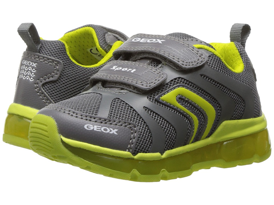 Geox Kids - Jr Android Boy 12 (Toddler/Little Kid) (Light Grey/Lime) Boy's Shoes
