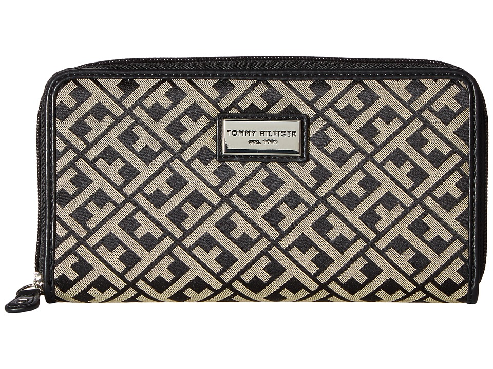 Tommy Hilfiger - Core Wallets Zip Around Signature (Black/Cream) Wallet Handbags