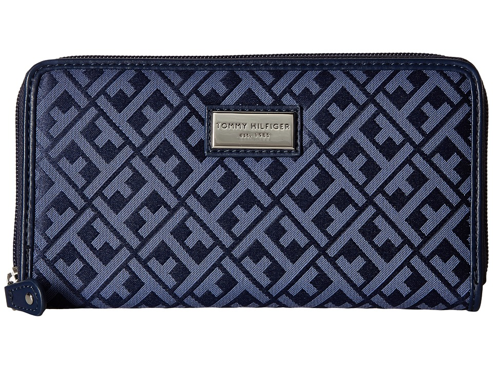Tommy Hilfiger - Core Wallets Zip Around Signature (Navy/Lapis) Wallet Handbags