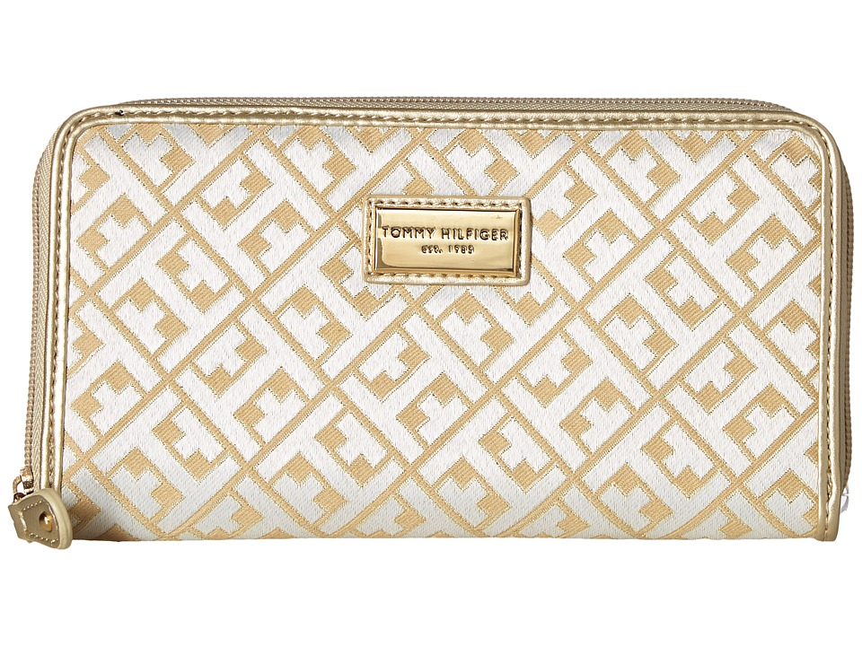 Tommy Hilfiger - Core Wallets Zip Around Signature (Gold Metallic) Wallet Handbags