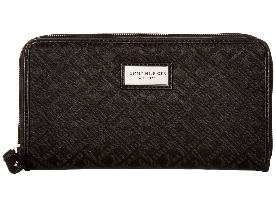 Tommy Hilfiger - Core Wallets Zip Around Signature (Black Tonal) Wallet Handbags