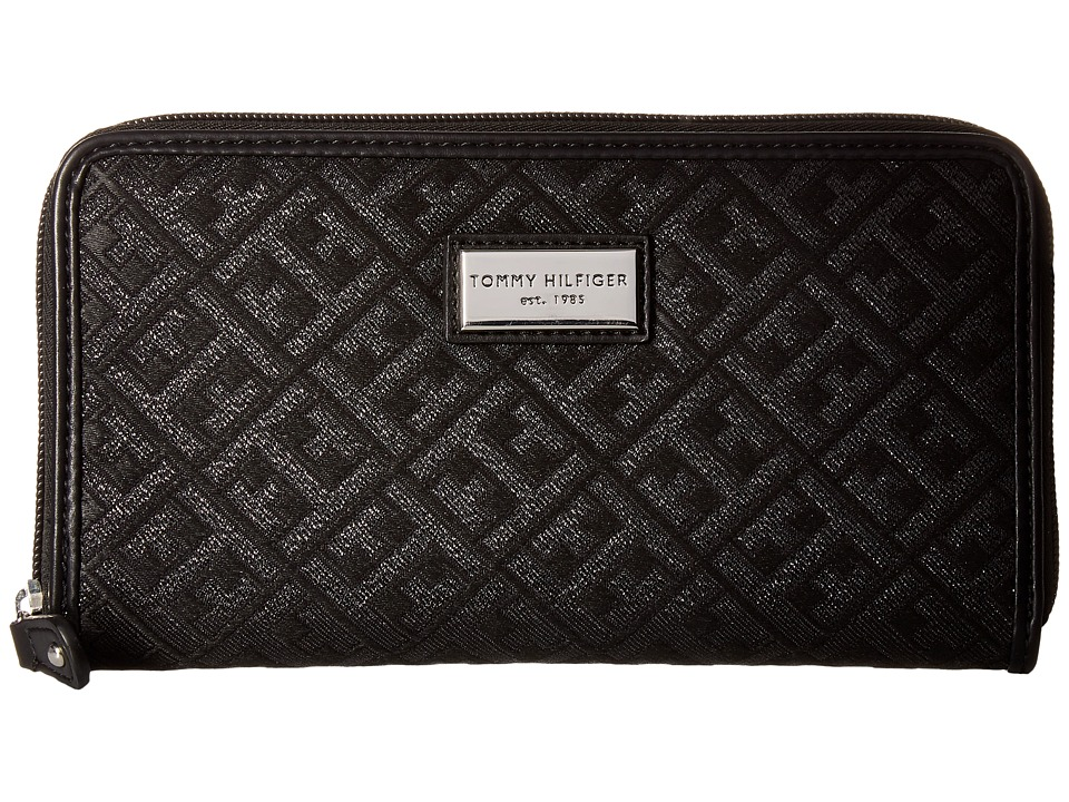 Tommy Hilfiger - Core Wallets Zip Around Signature (Metallic Black) Wallet Handbags