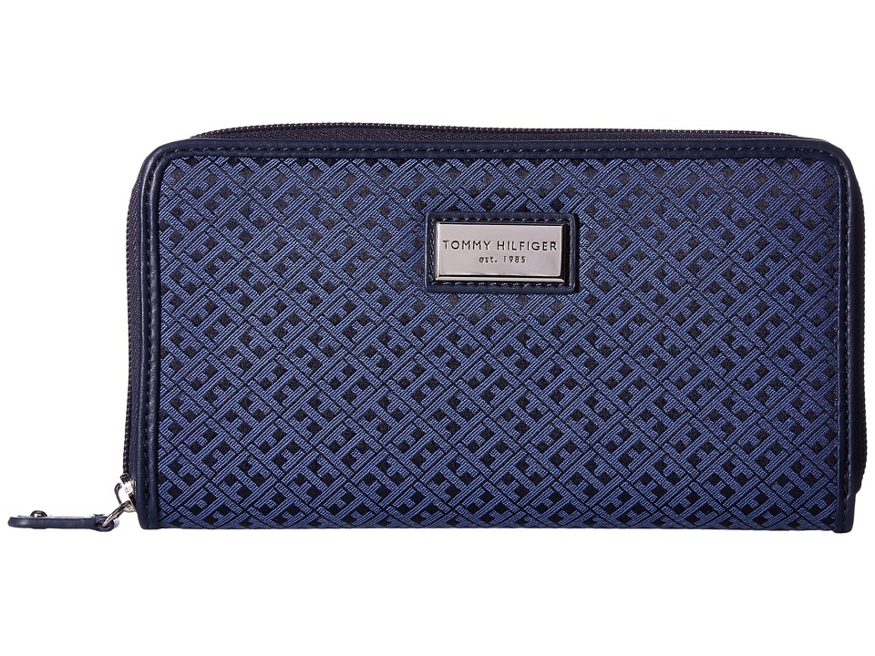 Tommy Hilfiger - Core Wallets Zip Around Mini Signature (Navy/Lapis) Wallet Handbags