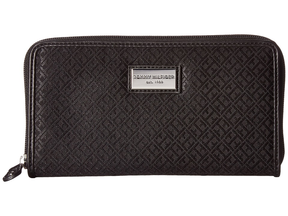 Tommy Hilfiger - Core Wallets Zip Around Mini Signature (Black Tonal) Wallet Handbags