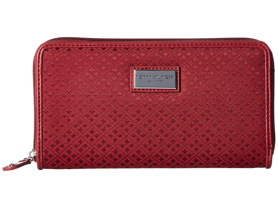 Tommy Hilfiger - Core Wallets Zip Around Mini Signature (Dark Cherry Tonal) Wallet Handbags