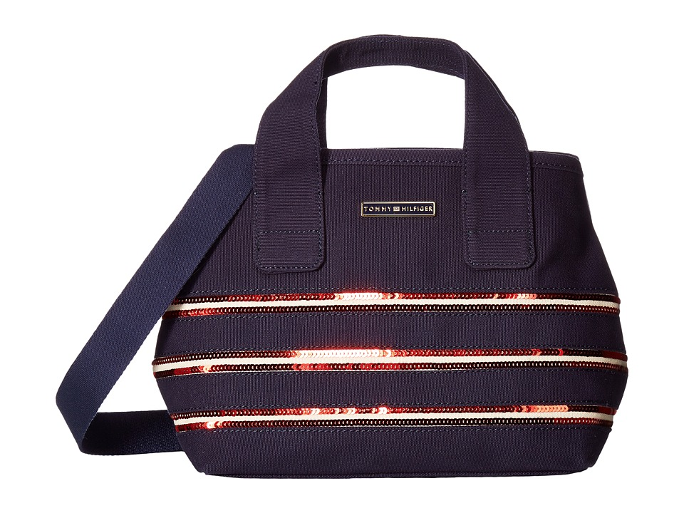 Tommy Hilfiger - Canvas Flag Convertible Shopper Canvas w/ Sequi (Navy/Red) Handbags