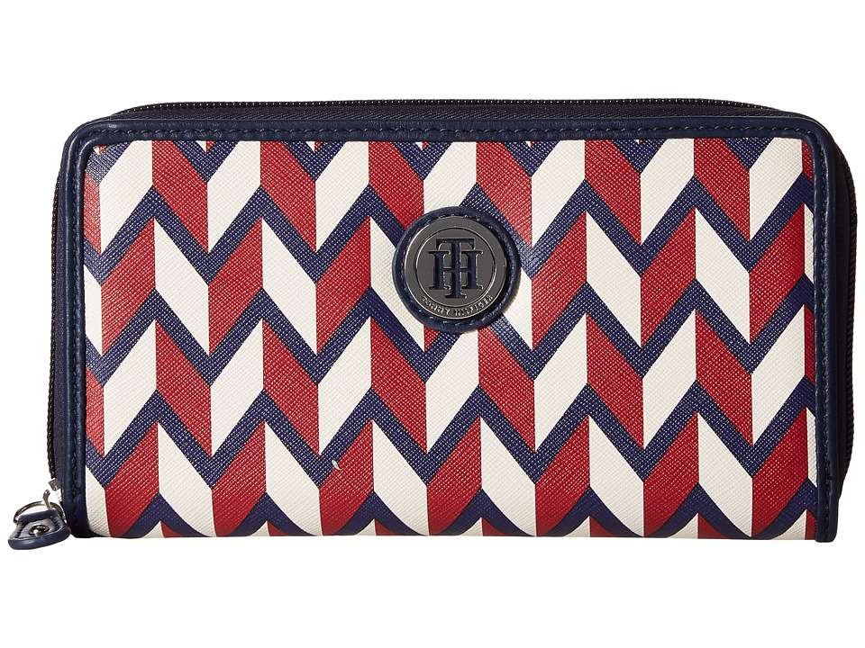 Tommy Hilfiger - TH Medallion Zip Wallet Chevron (Navy Multi) Wallet Handbags