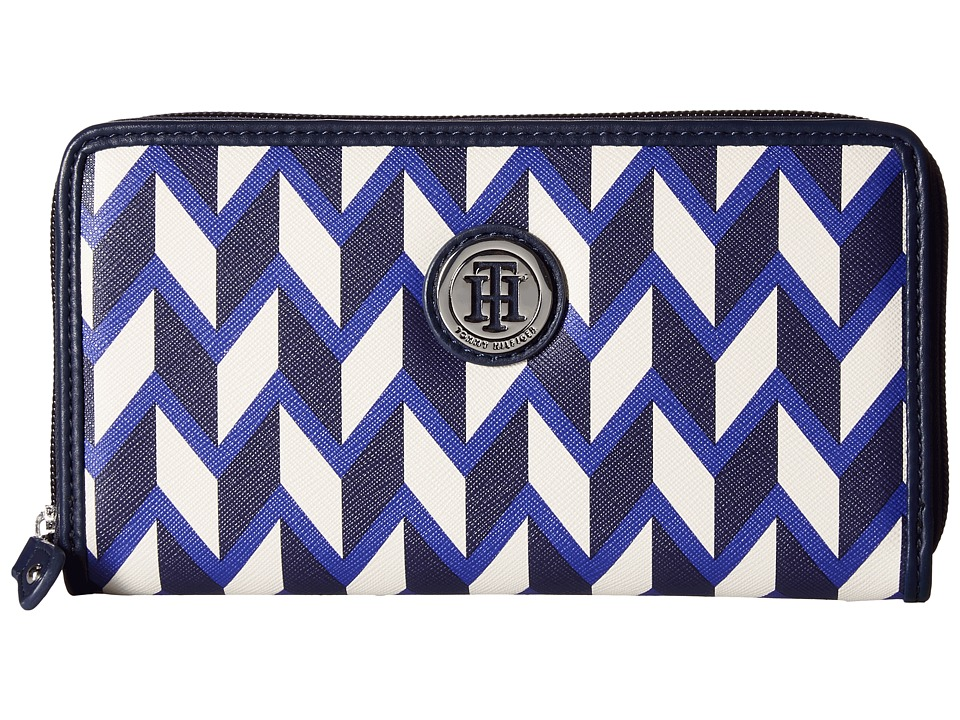 Tommy Hilfiger - TH Medallion Zip Wallet Chevron (Cobalt/Multi) Wallet Handbags
