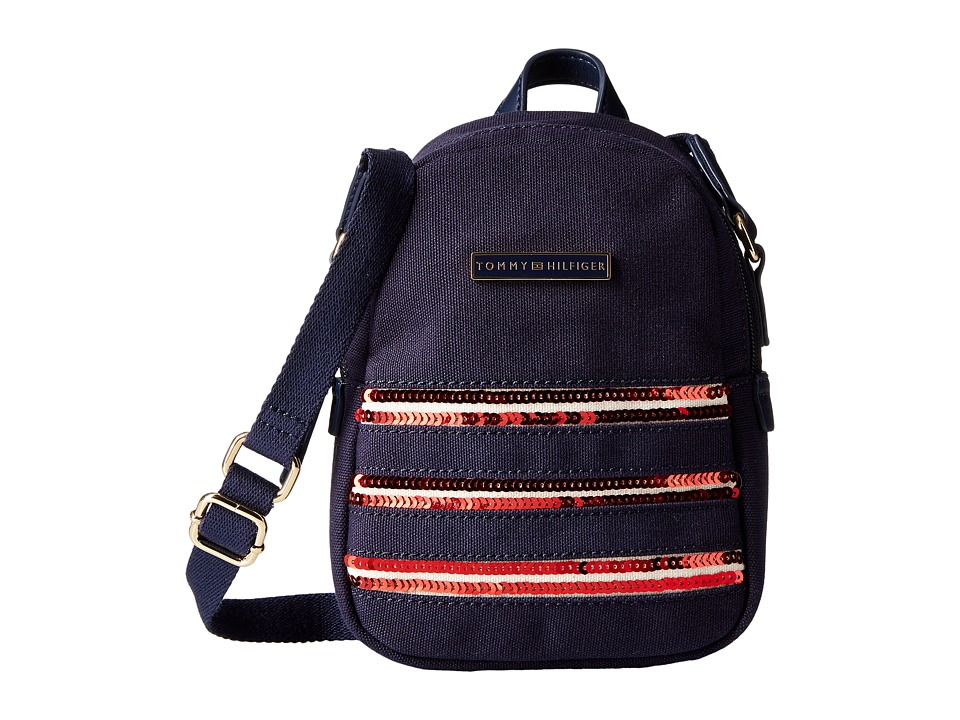 Tommy Hilfiger - Canvas Flag Mini Backpack Crossbody (Navy/Red) Backpack Bags