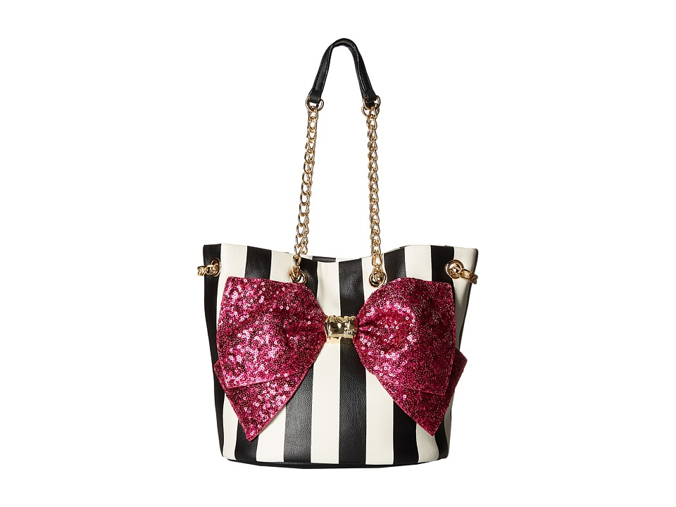 Betsey Johnson - Bow-Lesque Drawstring (Stripe/Fuchsia) Drawstring Handbags