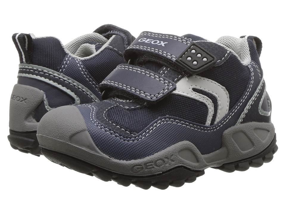Geox Kids - Jr New Savage Boy 4 (Toddler/Little Kid) (Navy/Light Grey) Boy's Shoes