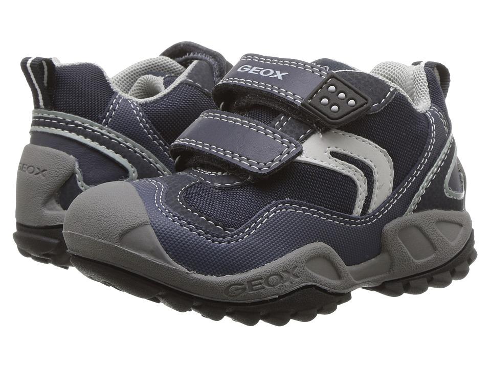 Geox Kids - Jr New Savage Boy 4 (Toddler/Little Kid) (Navy/Light Grey) Boy's Shoes