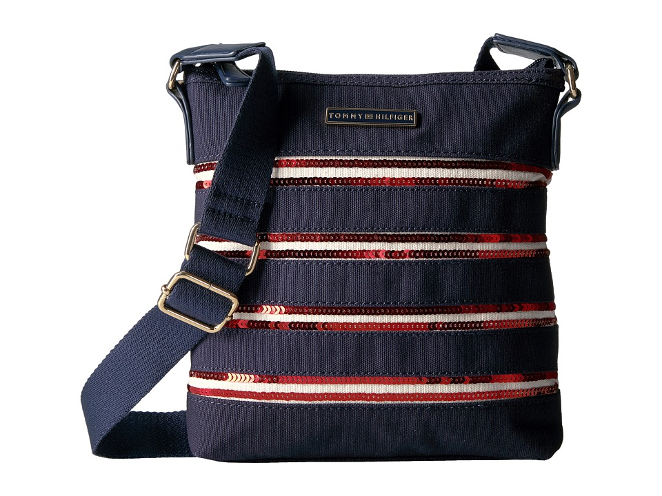 Tommy Hilfiger - Canvas Flag North/South Crossbody Canvas w/ Sequin (Navy/Red) Cross Body Handbags