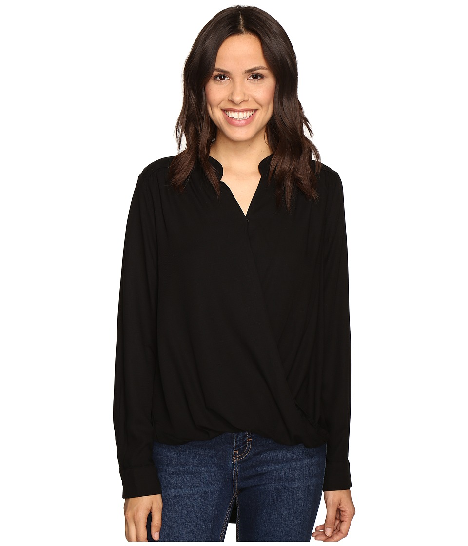 Splendid - Surplice Top (Black) Women's Long Sleeve Pullover